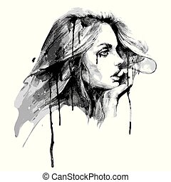 Beautiful woman, hand drawn, art ,isolated on a white