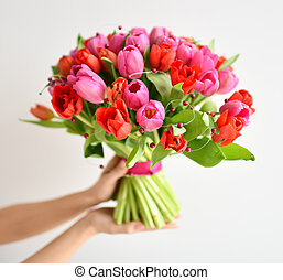 Beautiful woman hands hold bouquet of red and pink tulip flowers