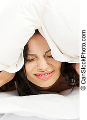 Beautiful woman have insomnia problem
