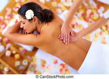 Beautiful woman having massage.