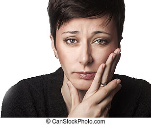 Beautiful woman having toothache - close up photo of ...