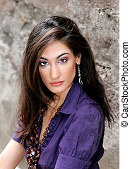 beautiful woman headshot - gorgeous fashion model closeup...