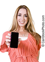 Beautiful Woman Holding a Cell Phone - Isolated Background