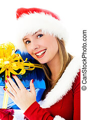 beautiful woman holding a Christmas present