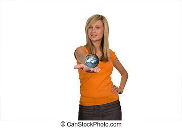 Beautiful Woman holding a Globe