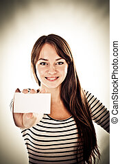 woman holding empty card