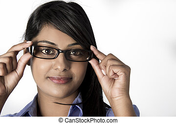 Beautiful woman holding  her frame glasses