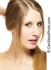 beautiful woman holding her hair to a pigtail on white background