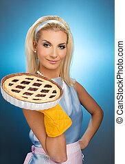 Beautiful woman holding hot italian pie. Retro stylized...