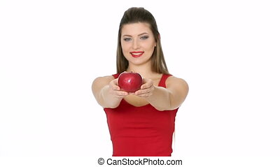 woman holding red Apple and smiling on white background.