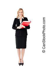 Beautiful woman holding red folder