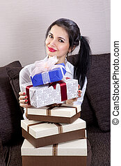 beautiful woman holds boxes