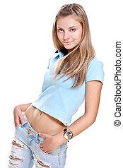 beautiful woman in a blue T-shirt