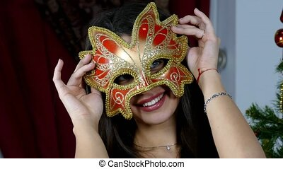 Beautiful Woman in a Carnival Mask