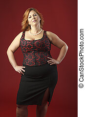beautiful woman in a corset