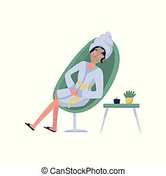 Beautiful woman in a cosmetic mask, relaxation, skincare, wellness at beauty salon vector Illustration on a white background