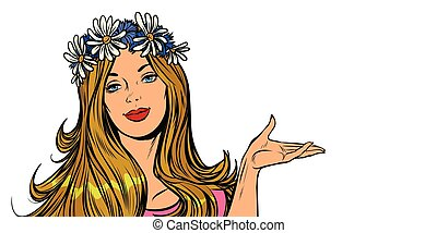 Beautiful woman in a flower wreath. isolate on white background