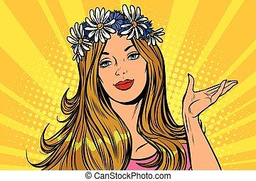 Beautiful woman in a flower wreath. Presentation gesture