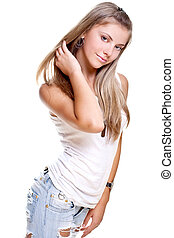 beautiful woman in a jeans