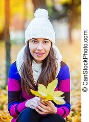 beautiful woman in a knitted hat