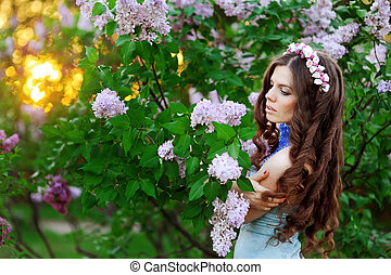 beautiful woman in a park