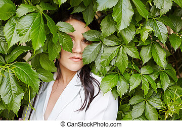 bride in the leaves