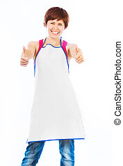 beautiful woman in apron