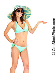 Beautiful woman in bikini on a white background.