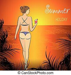 beautiful  woman in bikini posing on beach