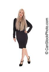 Beautiful woman in black dress