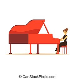 Beautiful woman in black dress playing red grand piano vector Illustration