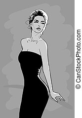 Beautiful woman in black dress with mysteriously looks. Vector. Cartoon style.