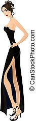 Beautiful woman in black. Eps 10