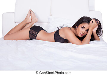 Beautiful woman in black lingerie - Beautiful sexy woman in...
