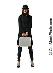 Beautiful woman in black with briefcase
