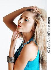beautiful woman in blue
