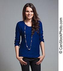 Beautiful woman in blue blouse - Beautiful woman wearing...