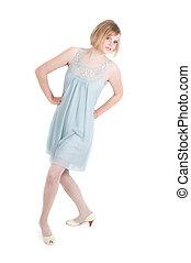Beautiful woman in blue dress