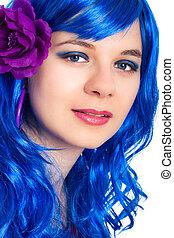 Beautiful woman in blue wig