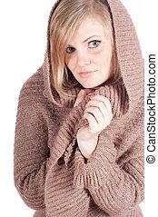 Beautiful woman in cardigan