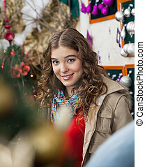 Beautiful Woman In Christmas Store