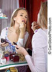 beautiful woman in dressing room