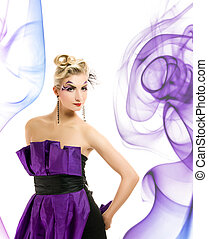 Beautiful woman in fashionable dress with creative hairstyle and makeup on abstract background