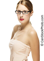 beautiful woman in fawn shirt with black glasses on white background