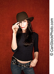 Beautiful woman in felt hat