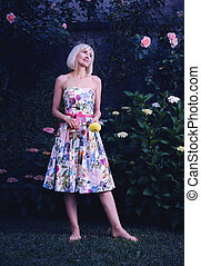 beautiful woman in floral dress