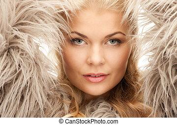 beautiful woman in fur - bright picture of beautiful woman...