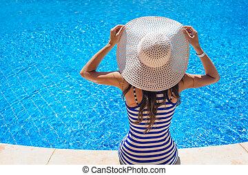 beautiful woman in hat sitting on edge of swimming pool