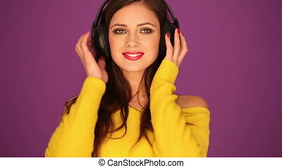 Beautiful woman in headphone