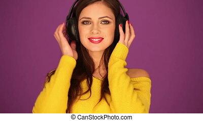 Beautiful woman in headphone